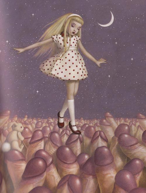 Trevor Brown girl walking in a field of penises