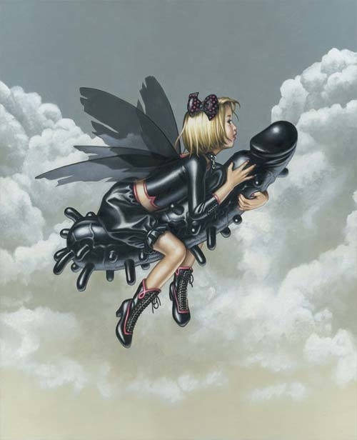Trevor Brown girl with wings on a flying black dildo