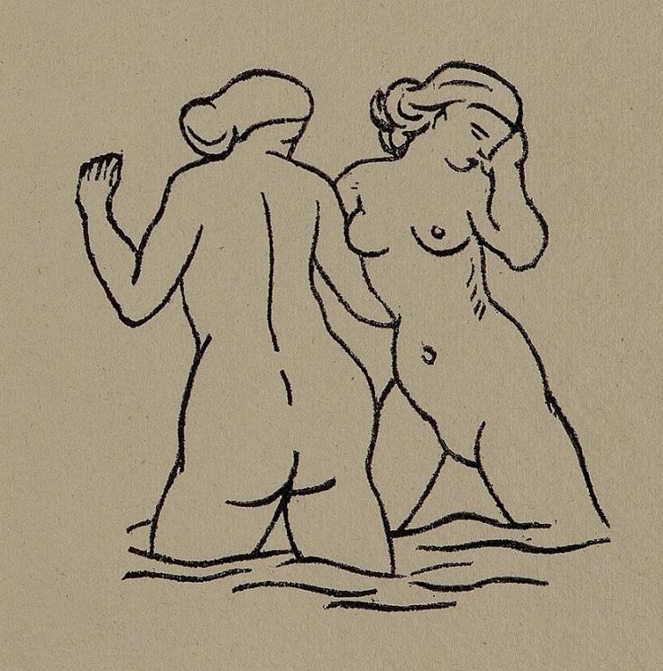 Two nude women standing in water