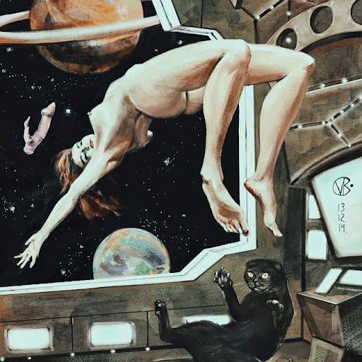 valeria ko girl and cat in space