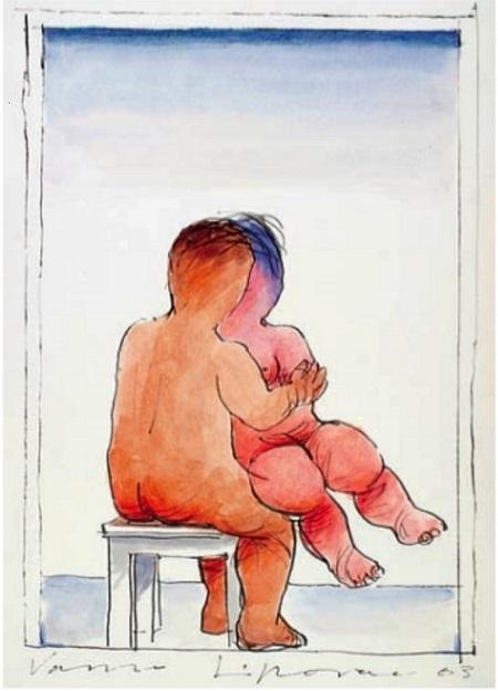 Vasko Lipovac nude couple on stool