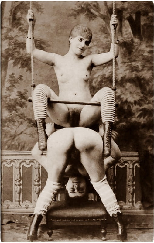 vintage photograph of nude female acrobats