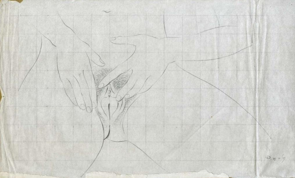 Vulva drawing by Eric Gill