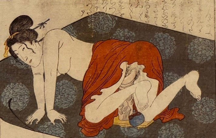 woman playing with a giant sex toy shunga