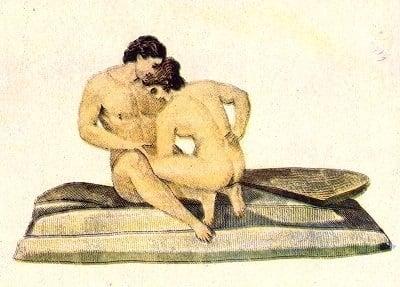 Woman preparing to perform fellatio