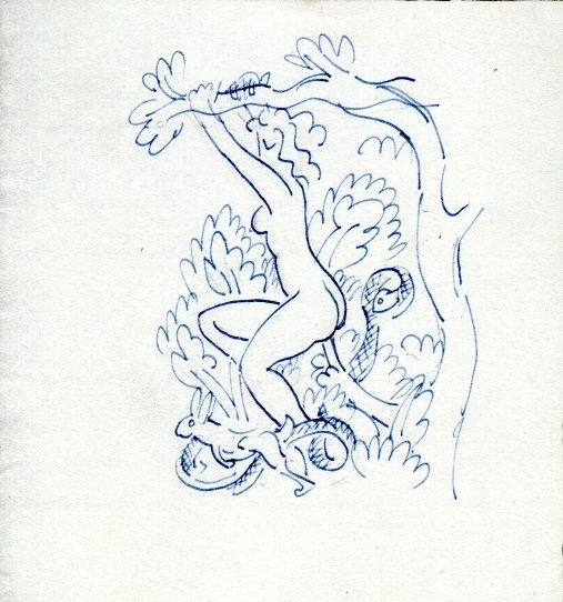 Woman, probably Eve, satisfying herself on a tree branch