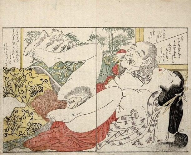 Foreigner with a Japanese woman by Kitagawa Utamaro
