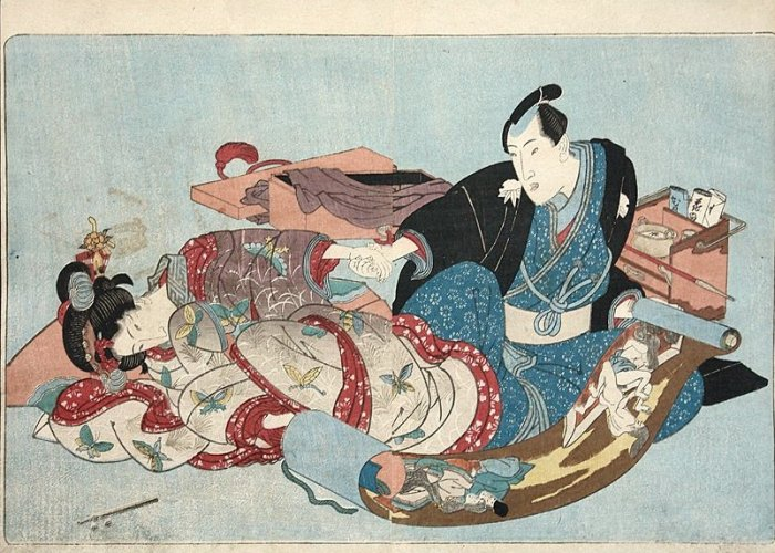 Couple watching erotic scroll by Utagawa Kunisada