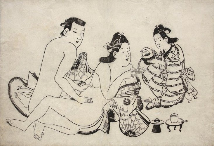 Intimate couple and servant by Torii Kiyonobu