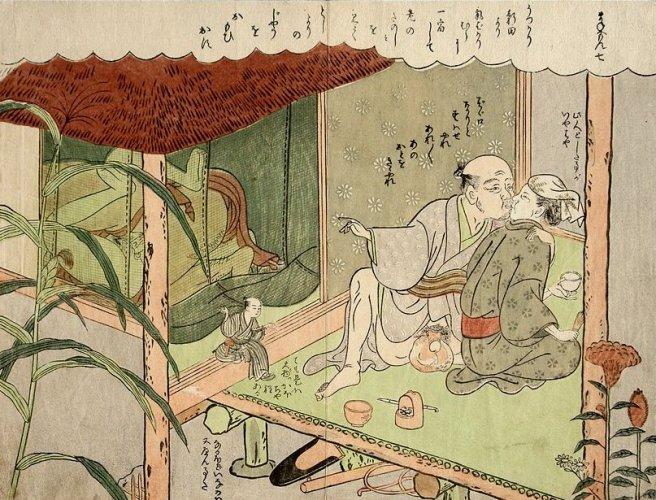 Old and young couple by Suzuki Harunobu.