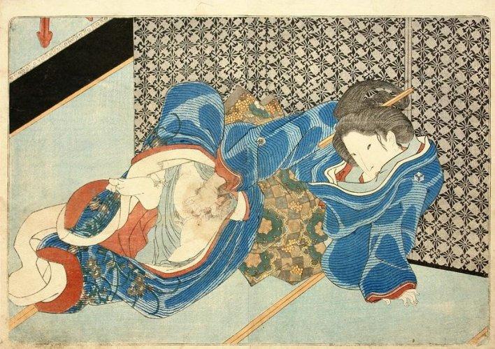 Masturbating woman by Utagawa Kunisada