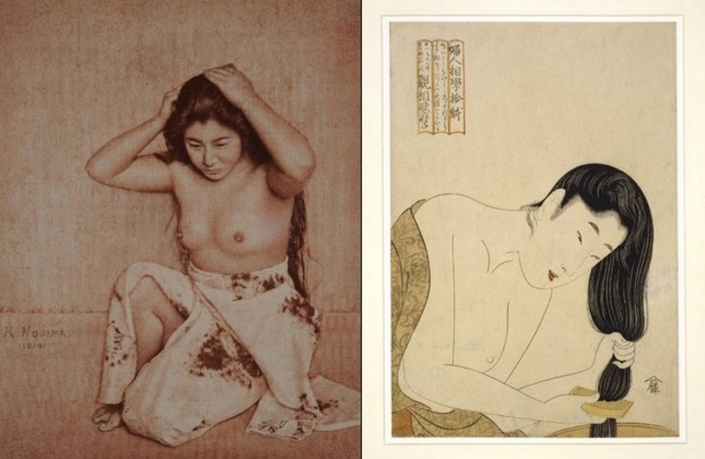 Yasuzō Nojima Woman combing her hair Utamaro