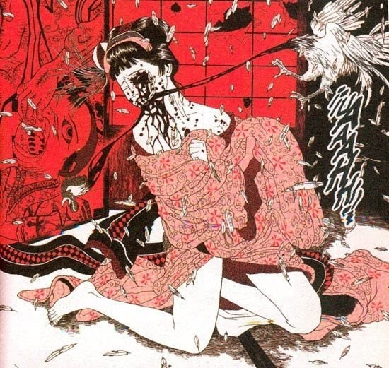 Suehiro Maruo: bloody scene with a chicken picking the face of a young girl