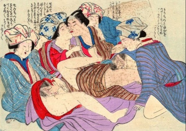 four housemaids making love to their master
