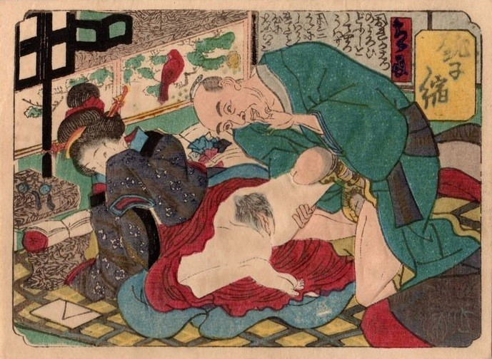 Koban-sized shunga with 'an older male sporting a dakota around his penis getting ready to penetrate a young geisha' (c.1850) by Utagawa school