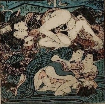 Rare scene with two young females and two males making love to each other' (c.1840) by Utagawa school