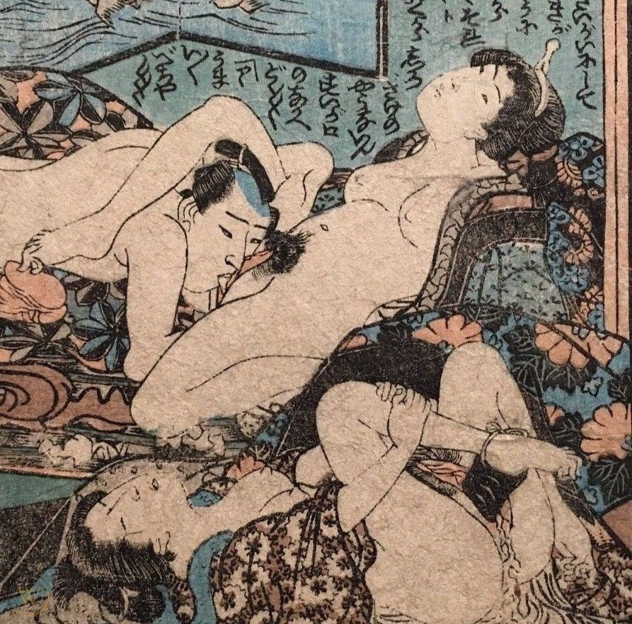 oral sex art : A male performing oral sex while the female caresses his penis with her toes. In the front, a female is enjoying herself with a harigata tied to her heel'
