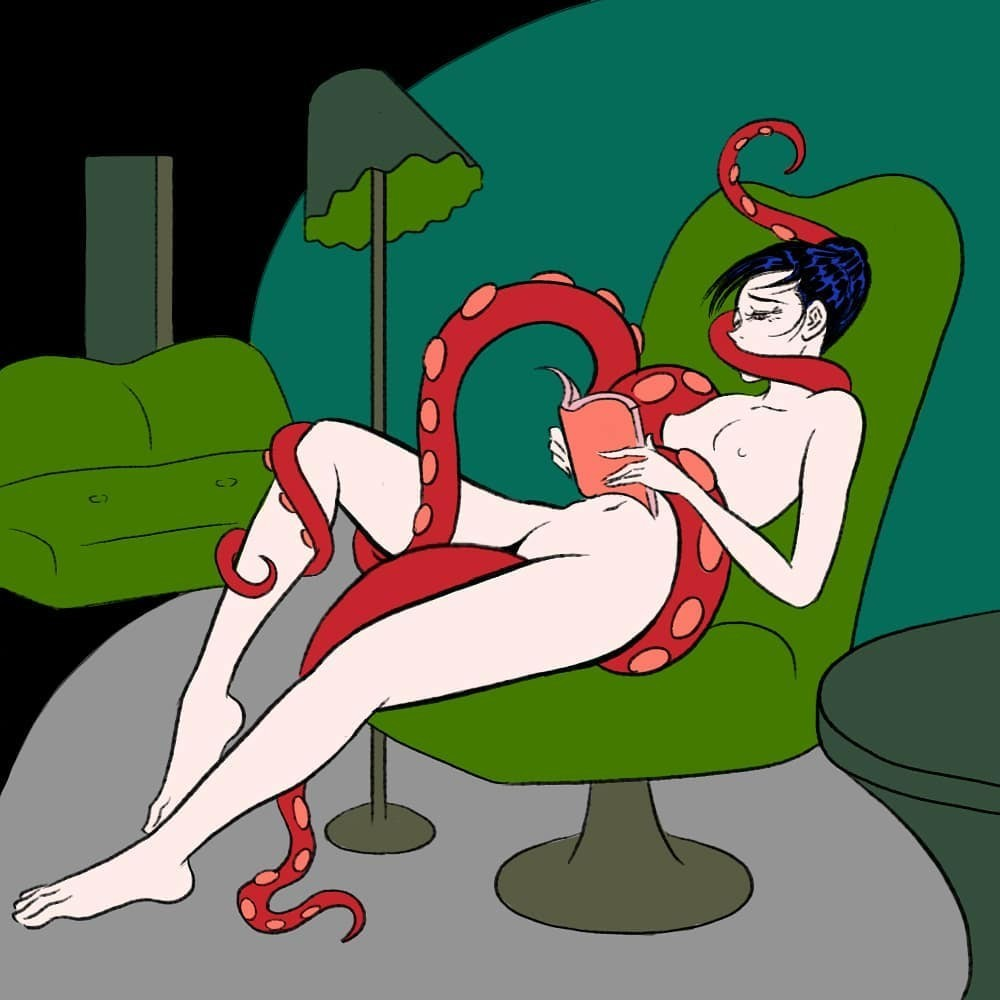 nude female on a green chair with tentacles by Pigo Lin