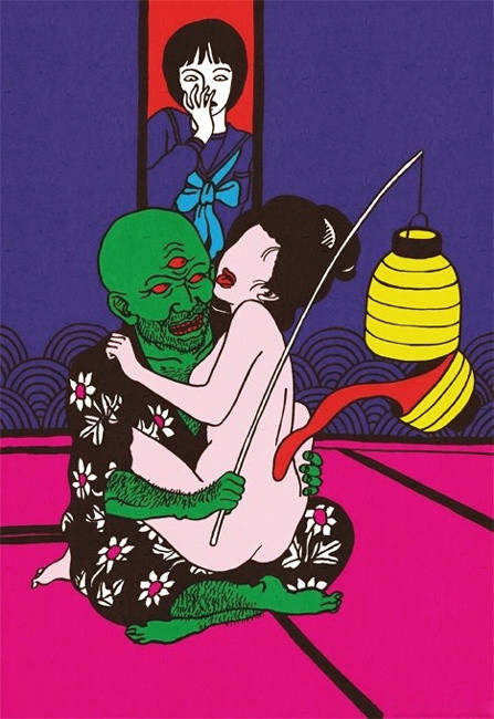 green three-eyed cyclops with nude faceless geisha licked by a magic lantern and watched by a surprised schoolgirl