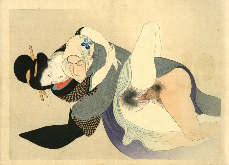 Yakumo no chigiri: A courtesan embracing her secret lover who has wrapped his head in a scarf.