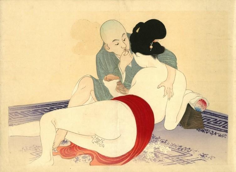 Yakumo no chigiri: Geisha and young Buddhist monk