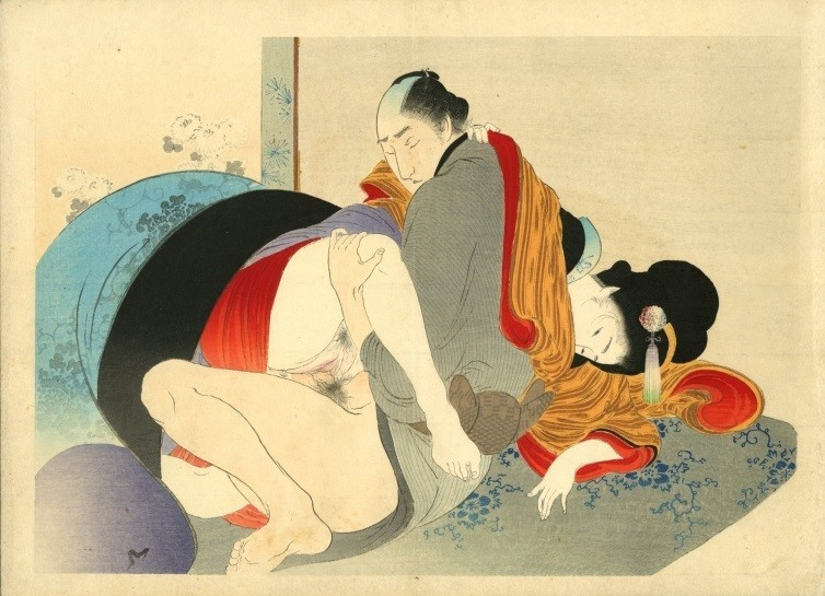 Yakumo no chigiri: A couple engage in sexual intercourse with the woman in the cowgirl position.