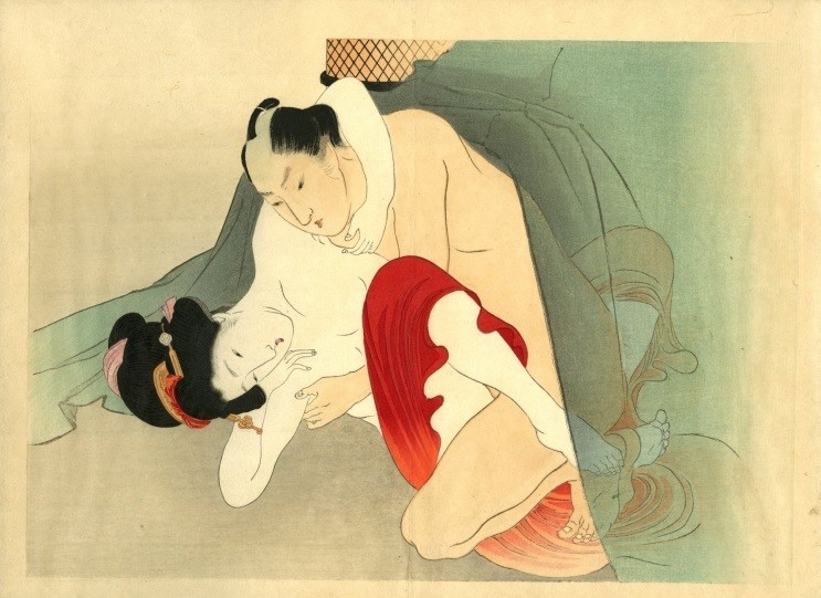 Yakumo no chigiri: Two lovers under mosquito-netting, the man's darker skin a striking contrast against the whiteness of his partner's flesh and the red cloth.