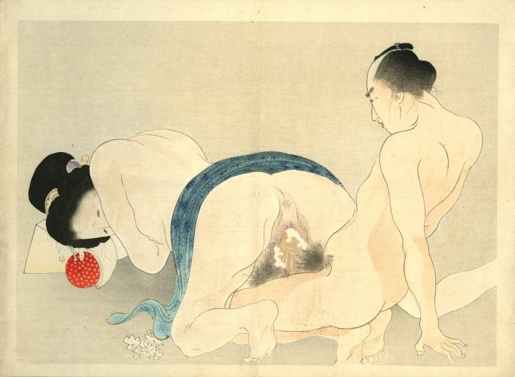 Yakumo no chigiri: A composition from an unusual point of view where the eyes of the spectator are led to the genitals of the protagonists.