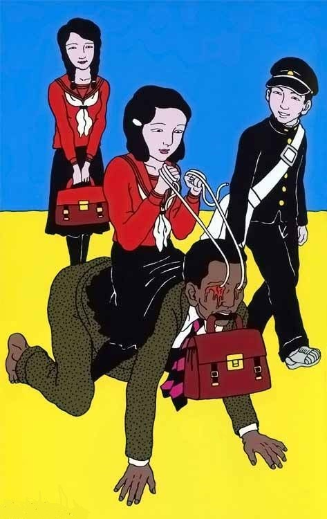 Toshio Saeki schoolgril riding her teacher with ropes on his eyes