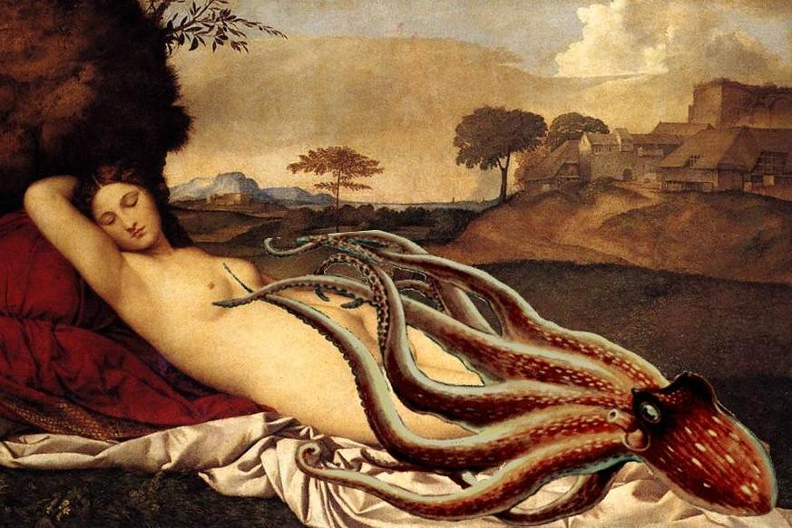 Reworking of Classical oil painting by Giorgione with sleeping Venus and octopus