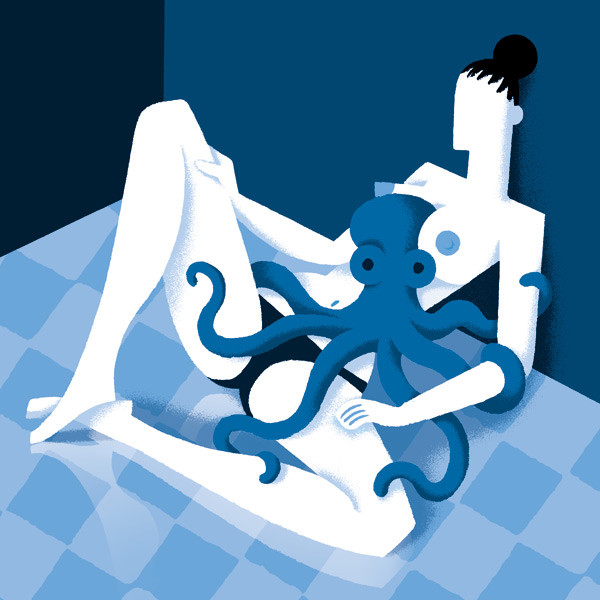 Cubic blue colored image with octopus and nude female