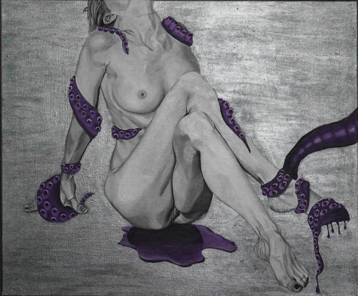 nude female with purple tentacles and stain