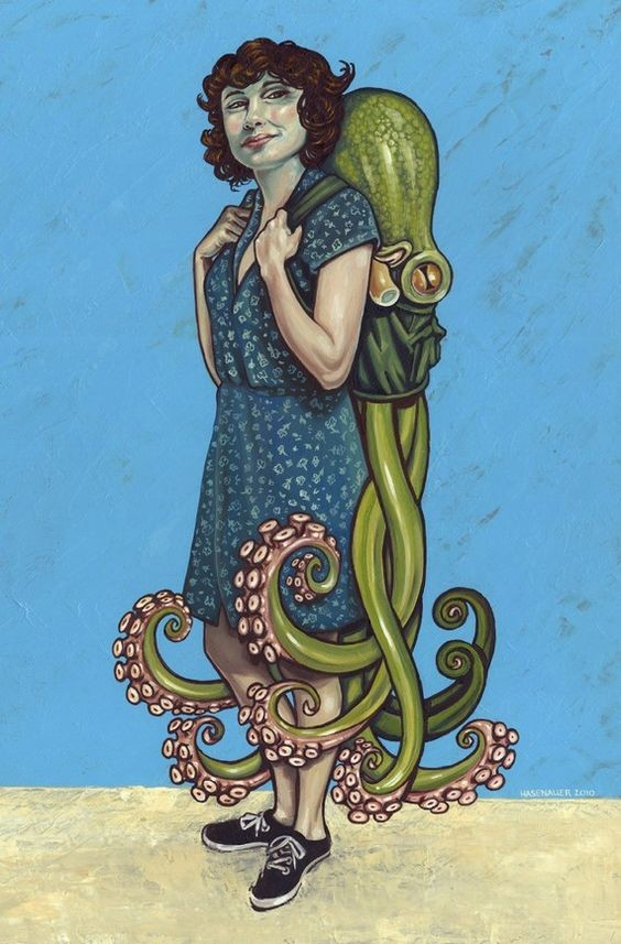 painting with female sporting an octopus back pack