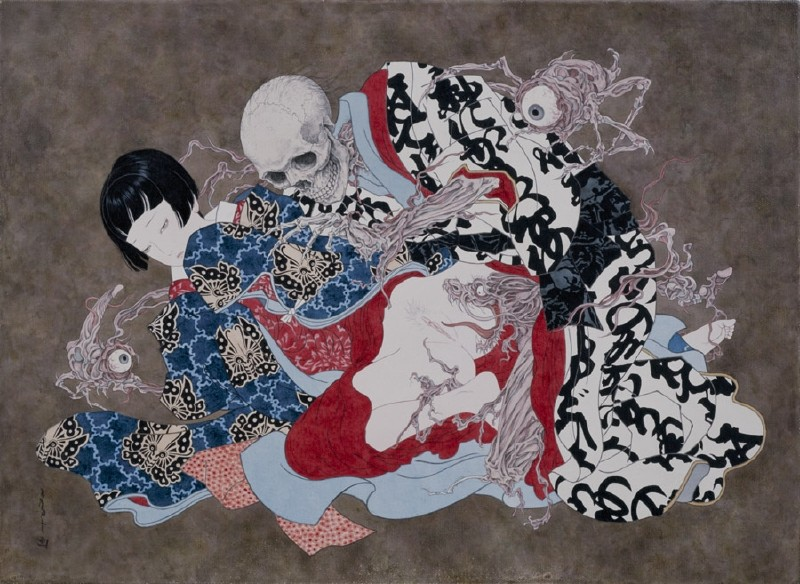 Takato Yamamoto: skeleton making love to a young girl