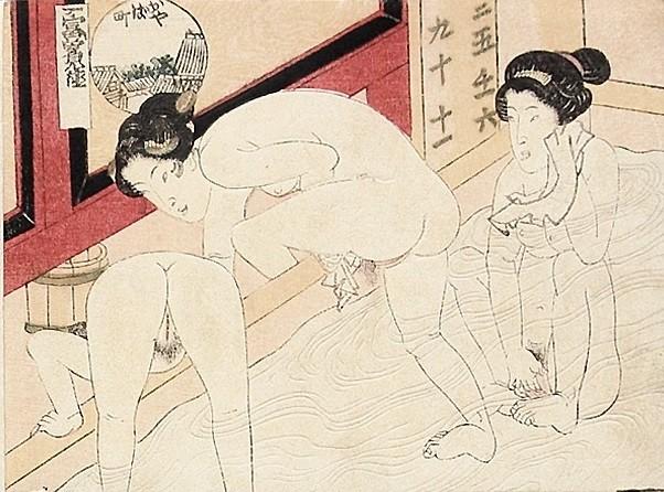 close up genitalia: 3 Females in the bathhouse