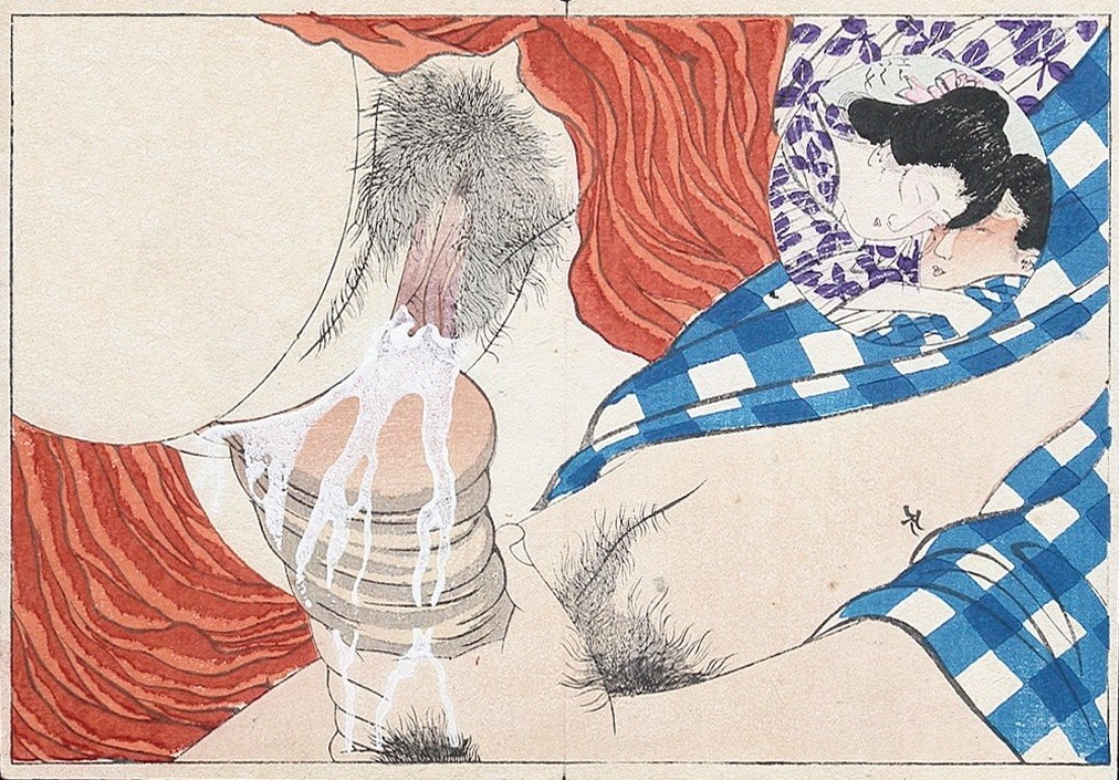 close up genitalia: Closeup intercourse with inserted image of the couple' (c.1890) attributed to Tomioka Eisen