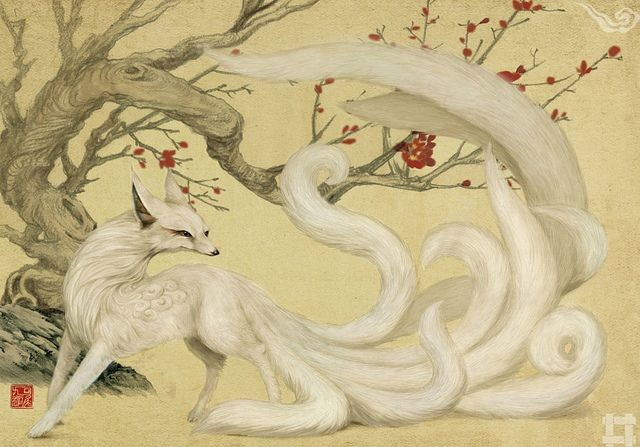 kitsune woman: Chinese Nine-Tailed Fox. Kyubi no Kitsune / White Nine-Tailed Fox