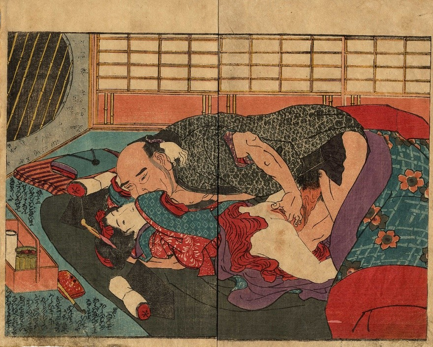 shock art: 'Kamuro is deflowered by an older male' (c.1830) attributed to Kunisada
