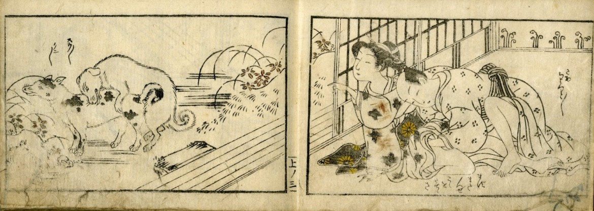 Harunobu Suzuki: A young female points at two aroused street dogs while her older lover has similar intentions