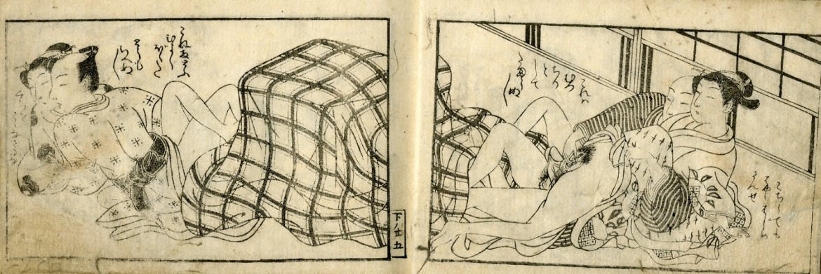 Harunobu Suzuki: Seated at the kotatsu (covered brazier) on a winter's evening, two couples are involved in intimate activities, each on their own side.