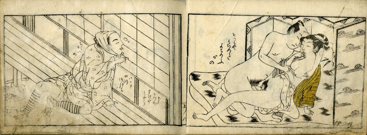 Harunobu Suzuki: An aroused male sitting outside on the veranda has found a small hole to peek through. He is observing the intimacies in the bedroom inside the house
