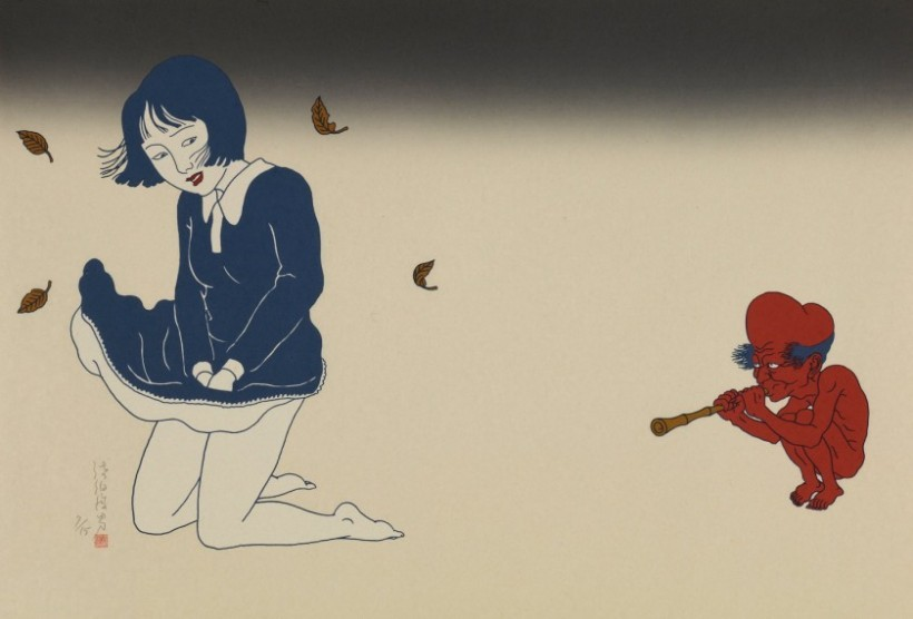 toshio saeki: red bald-headed dwarf playing the flute grabbing the attention of a young schoolgirl with a blowing skirt