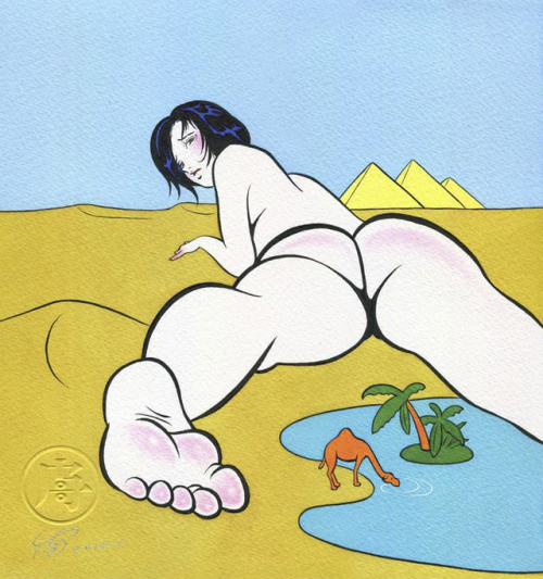Pigo Lin: nude girl lying in the desert near a oasis with a tiny drinking camel