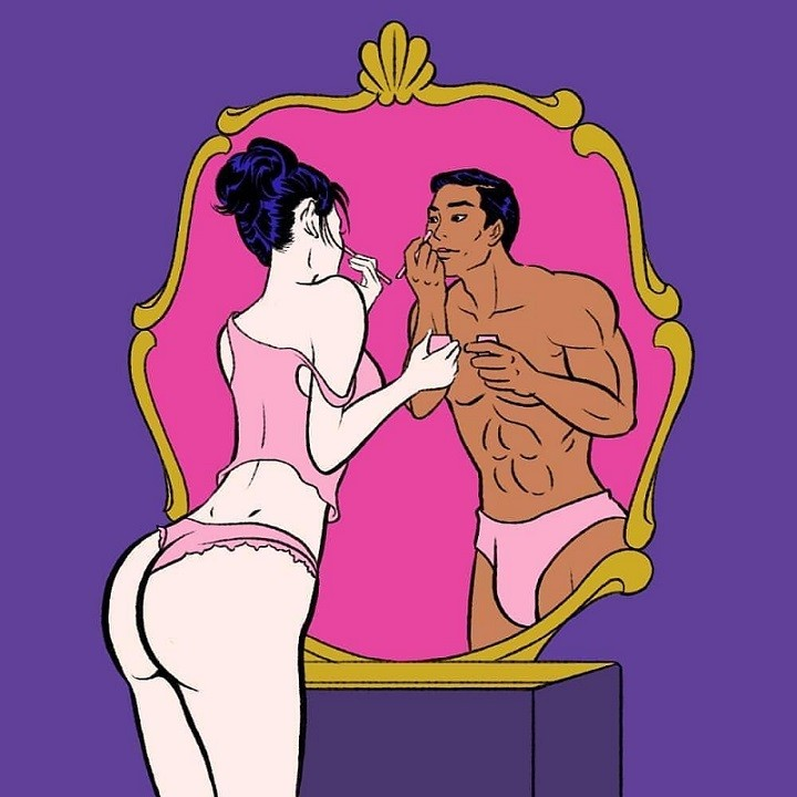 'Girl in underwear standing in front of a mirror with a male reflection' by Pigo Lin