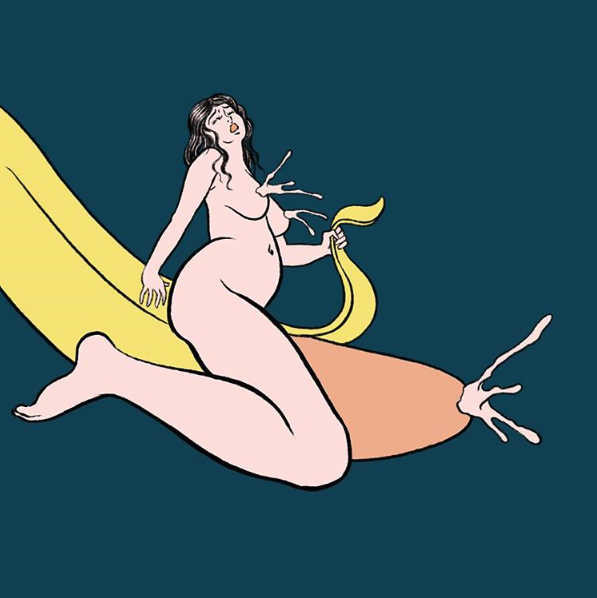 Pigo Lin Art: Nude girl with squirting breasts sitting on a pealed squirting banana