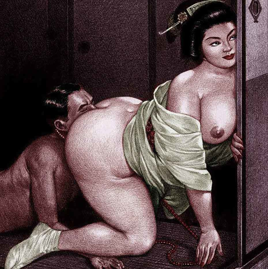 Namio Harukawa: slave on a leash eating the pussy of a corpulent geisha