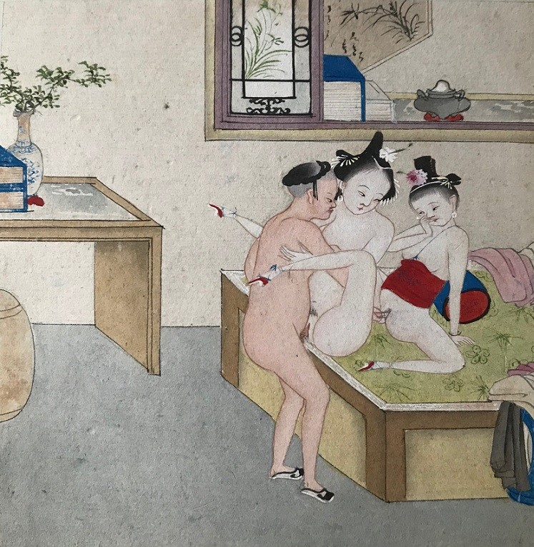 sing-song girls: Threesome in a brothel' (c.1870) by an unknown Chinese master