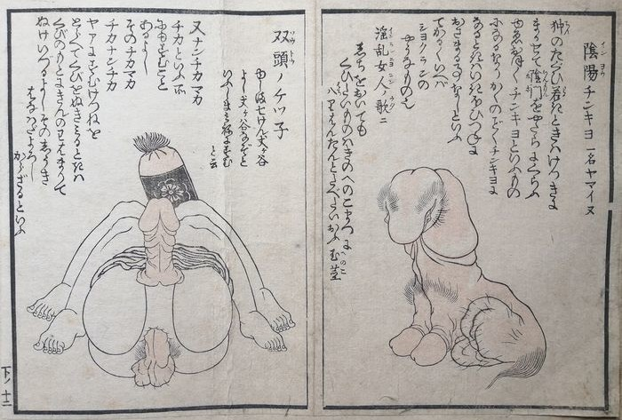 Akatsuki No Kanenari phallus and scrotum shaped foo dog