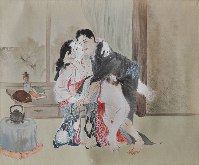 Takeuchi Seiho: painting with an intimate couple having an impulsive encounter on a dresser