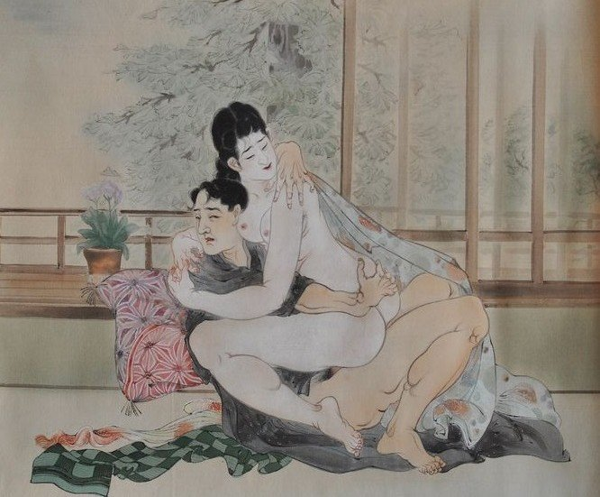Takeuchi Seiho: nude female sitting on the lap of her lover